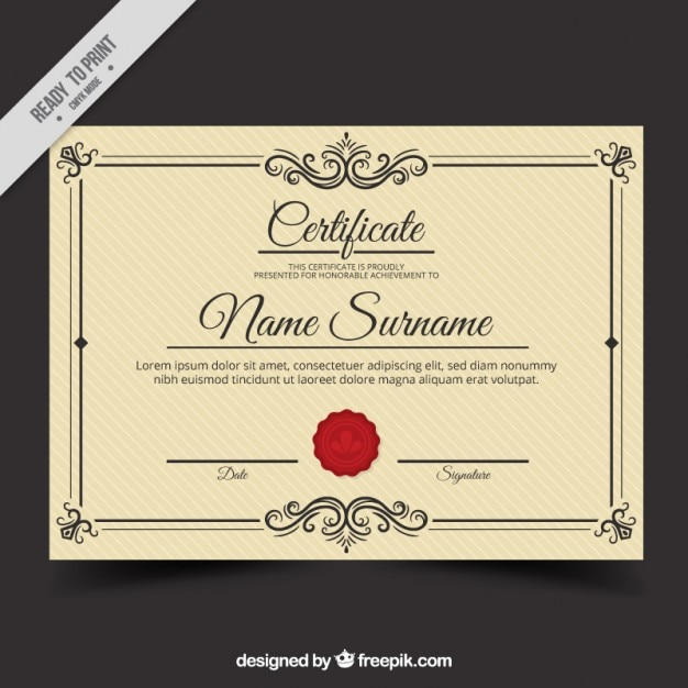 vintage diploma template free vector