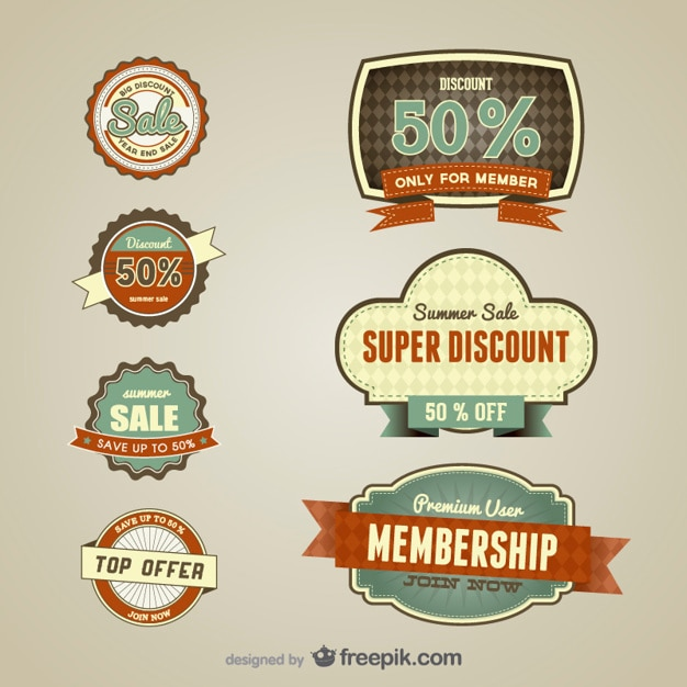 Vintage discount for members labels Free Vector