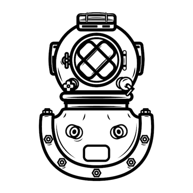Vintage diver helmet.  element for logo, label, emblem, sign.  illustration Premium Vector