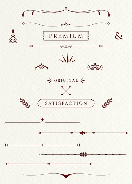 Vintage dividers and decorative elements Free Vector