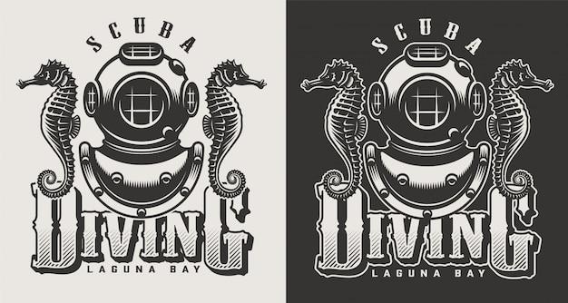 Logotipi monocromatici del centro d'immersione d'annata con l'illustrazione della presa d'aria e della maschera Vettore gratuito