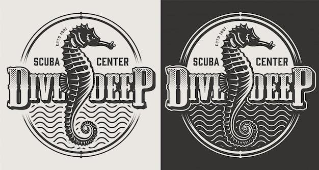 Etichette d'immersione d'annata con i cavallucci marini e casco di immersione nell'illustrazione monocromatica di stile Vettore gratuito
