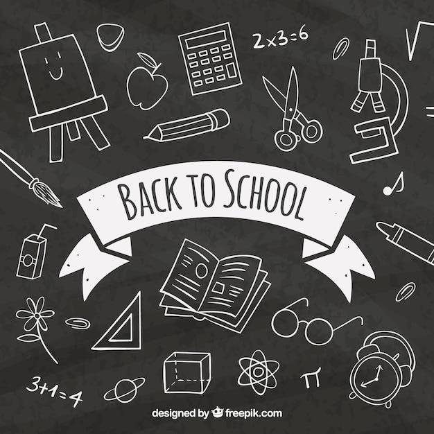 Vintage drawing background on blackboard