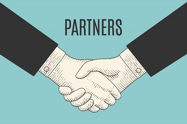 Vintage drawing of handshake in engraving style with text partners Premium Vector