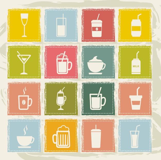 Vintage drinks icons over grunge background Premium Vector