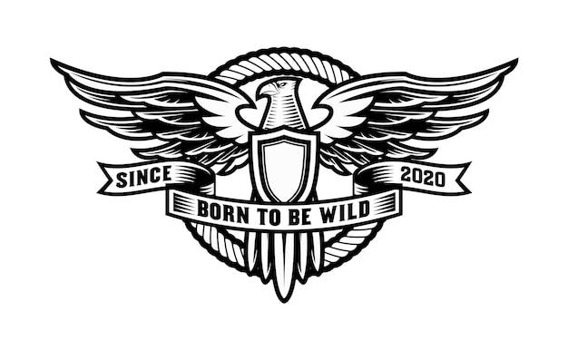 Винтажный логотип орла со щитом и круглой веревкой Premium векторы