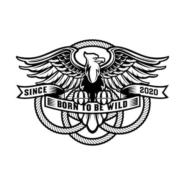 Vintage eagle logo with shield and round rope, premium Premium Vector