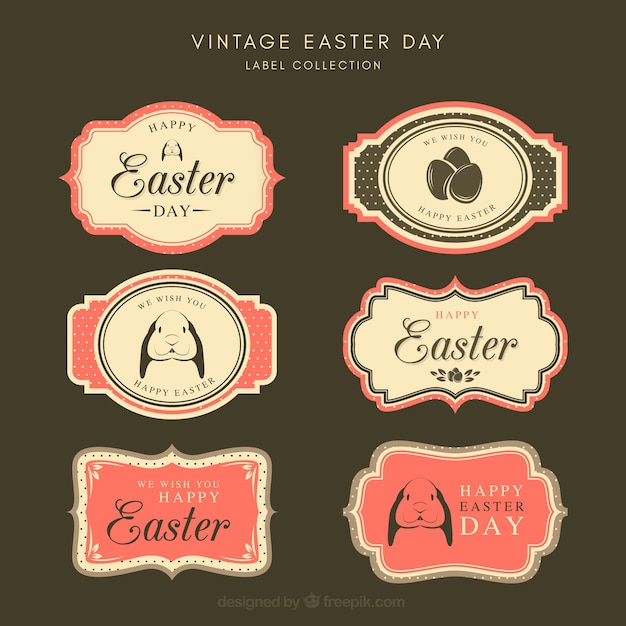 Vintage easter day label/badge collection Free Vector