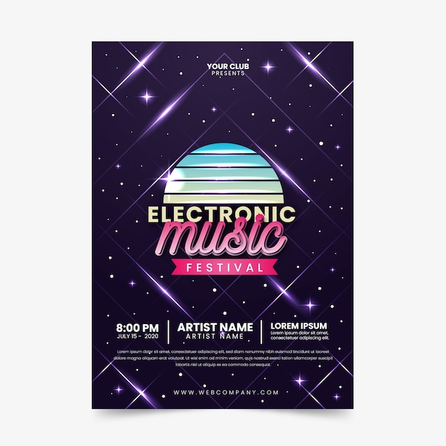 Vintage electronic music poster template Free Vector
