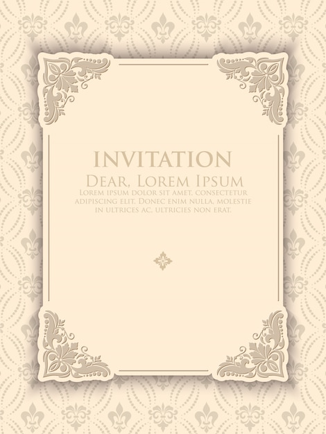 Vintage elegant invitation template Free Vector