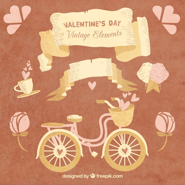 Vintage Elements For Valentine Day Vector Free Download