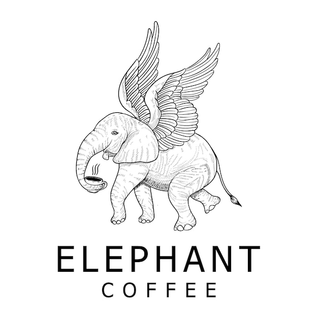 Винтажный дизайн логотипа кофе слон Premium векторы