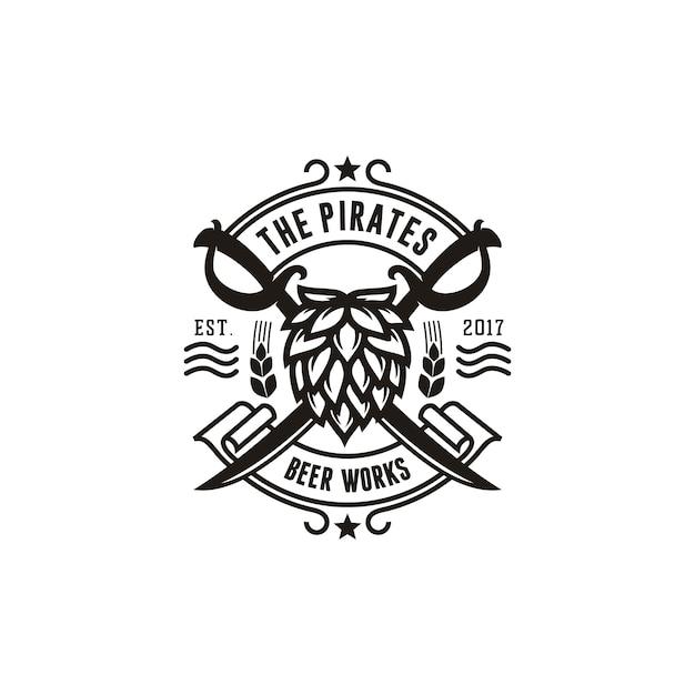 Скрещенный пиратский меч с хмелем для пива пивоваренный завод vintage emblem logo Premium векторы