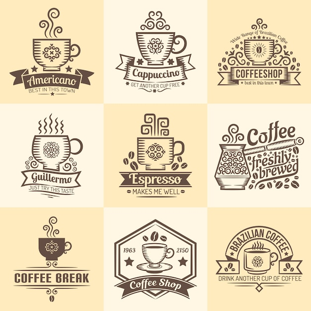 Vintage emblems for coffeehouse. logos with a mug of coffee in retro style. Premium Vector