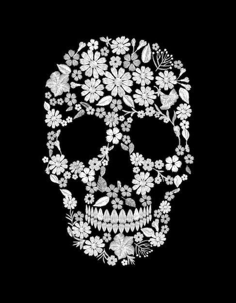 Старинные вышитые цветочные черепа. muertos dead day fashion Premium векторы