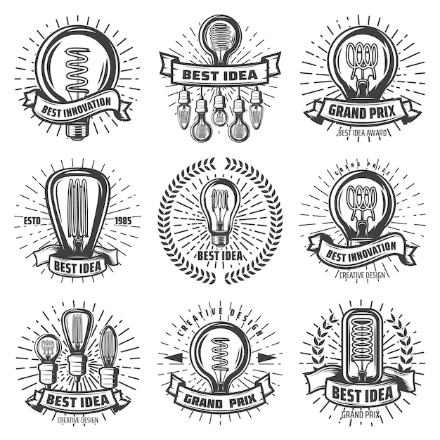 Vintage energy efficient lightbulbs labels set with inscriptions different light bulbs Free Vector