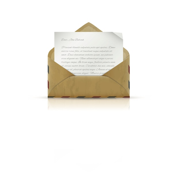 Vintage envelope with paper and text Premium Vector