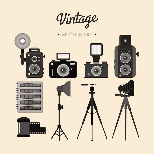 Vintage equipment of cameras and accessories Free Vector