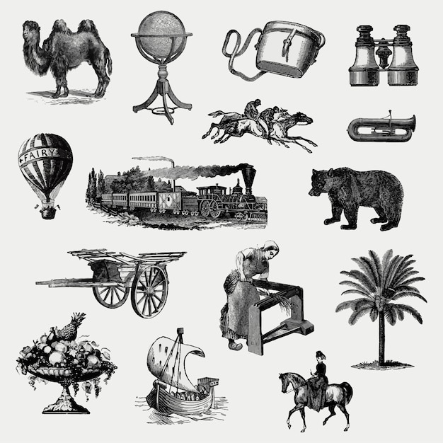 Vintage european objects set Free Vector
