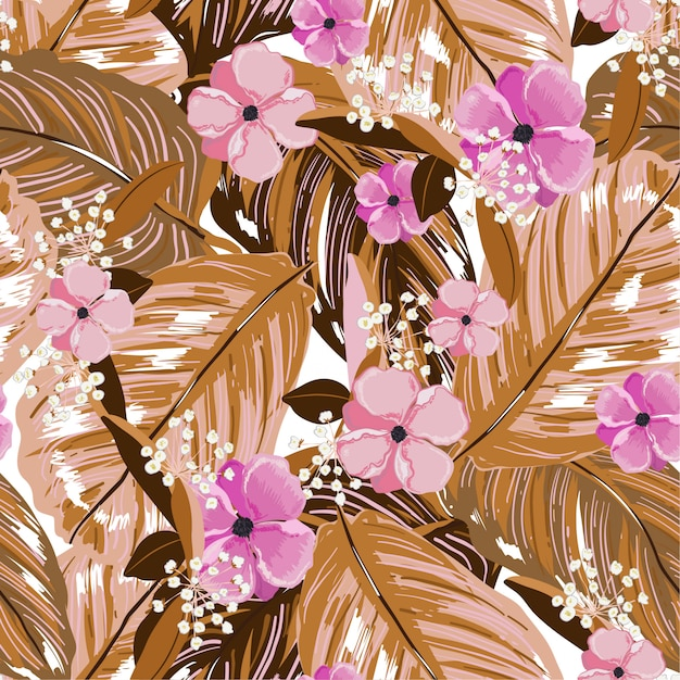 Vintage exotic layer of summer leaves and blooming flowers seamless pattern in vector design for fashion,web,wallpaper,fabric and all prints Premium Vector