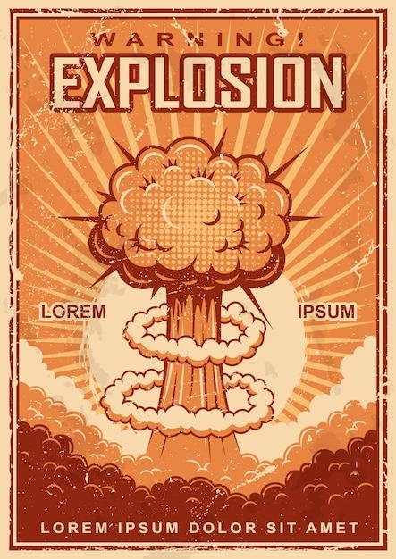 Винтажный плакат взрыва на фоне гранж. Бесплатные векторы
