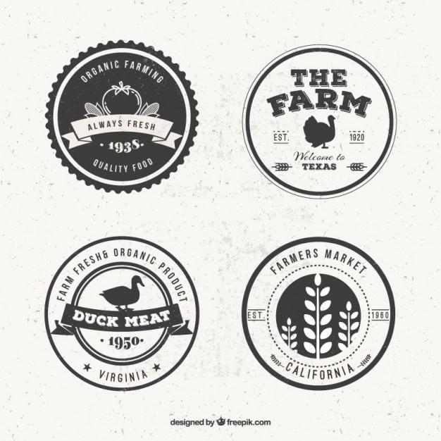Vintage Farm Logo Set Free Vector
