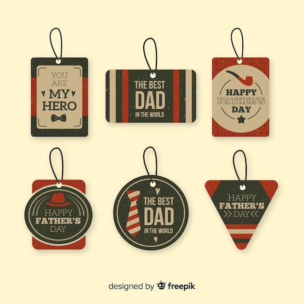 Vintage father's day badge collection Free Vector