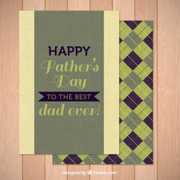 Vintage father\'s day card with rhombus