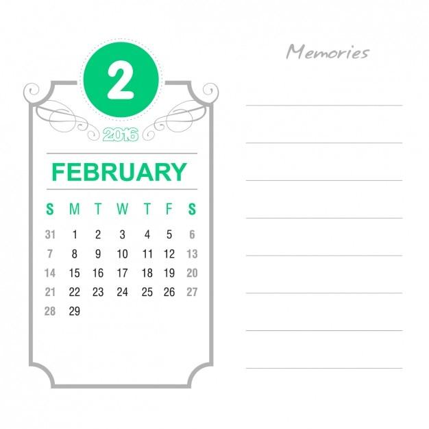 Vintage February Calendar 2016