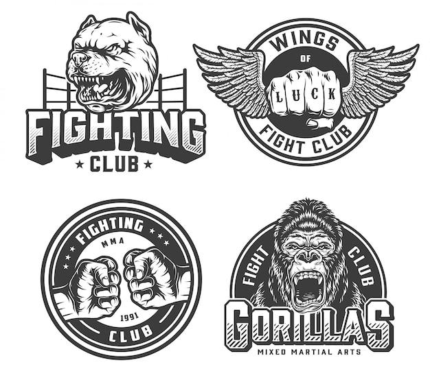 Vintage fight club monochrome badges Free Vector
