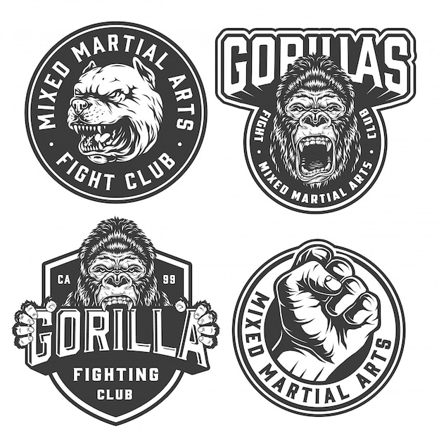 Vintage fight club monochrome labels Free Vector