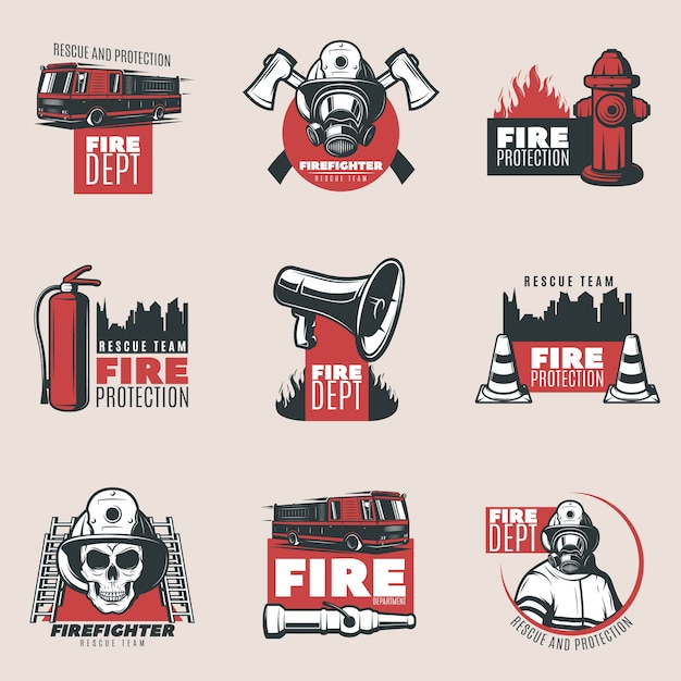 Vintage fire protection logos set Free Vector