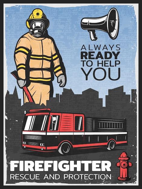 Illustrazione variopinta di lotta contro l'incendio dell'annata Vettore gratuito
