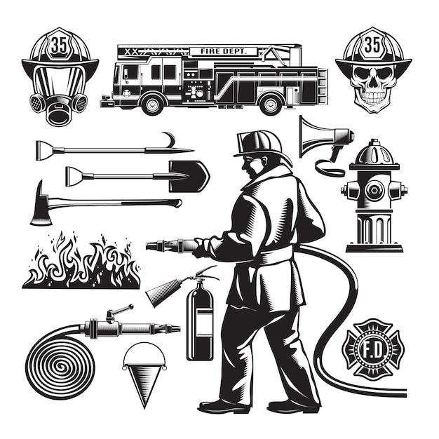 Set di elementi vintage antincendio Vettore gratuito