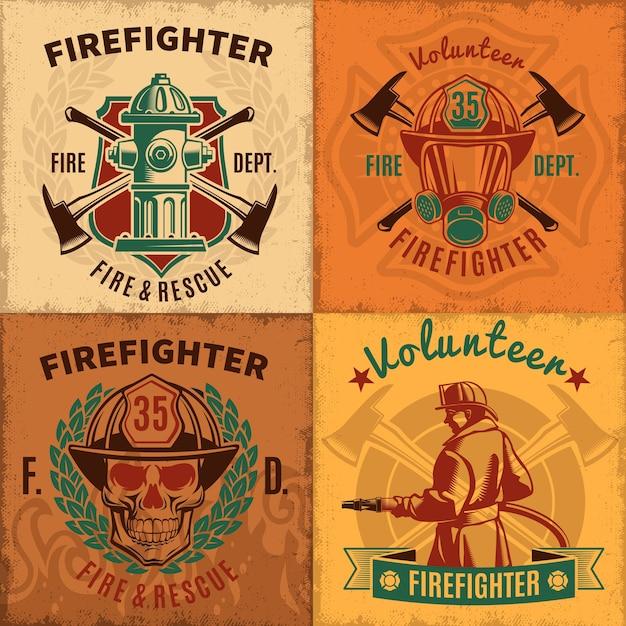 Vintage firefighting emblems set Free Vector