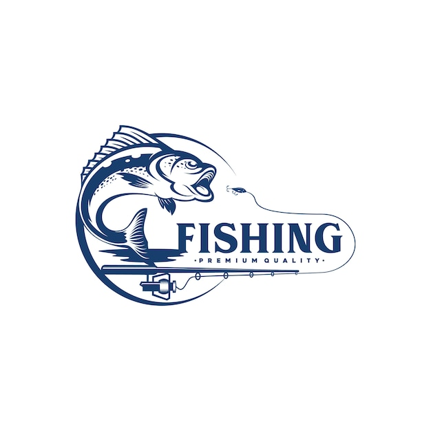 Vintage fishing logo design illustration Premium Vector