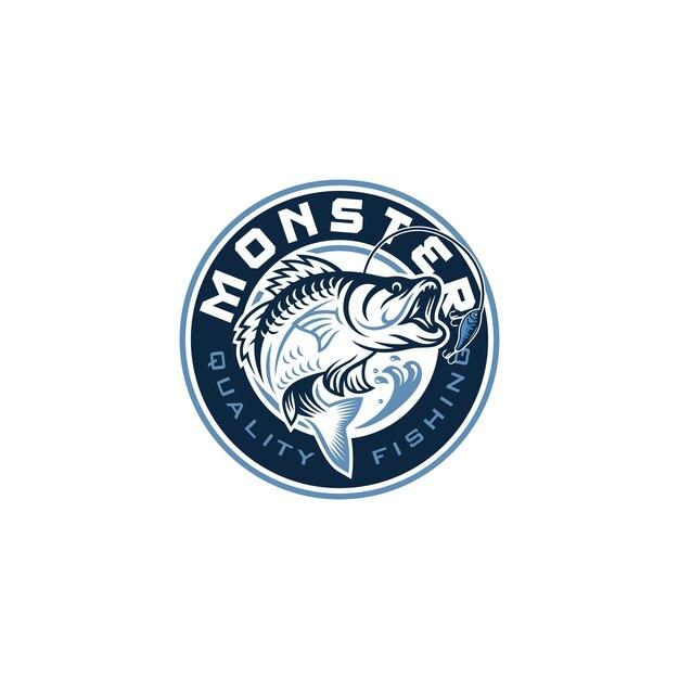 Vintage fishing logo image Premium Vector