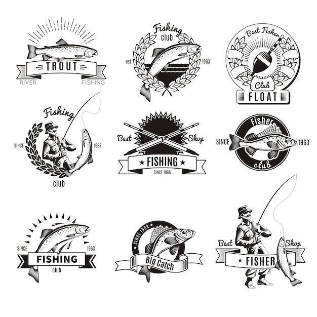 Vintage fishing logo set Free Vector