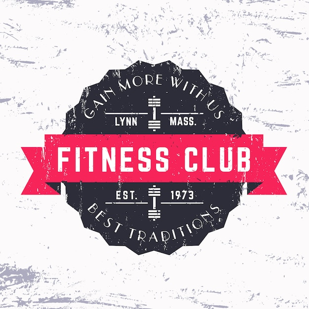 Vintage fitness club grunge logo, badge,   illustration Premium Vector