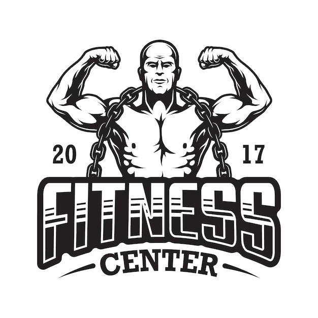 Vintage fitness logo Premium Vector
