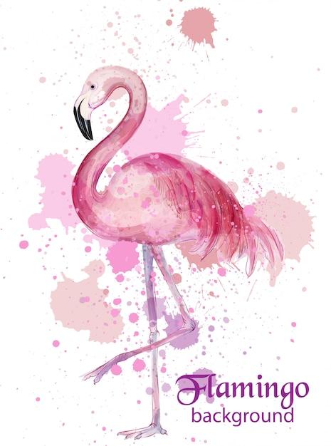 Vintage flamingo watercolor card Premium Vector