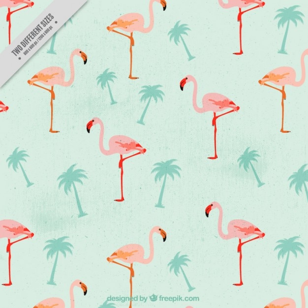 Vintage flamingos with palm trees\ background