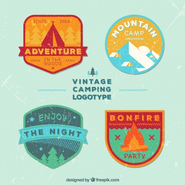 Vintage flat adventure logos templates