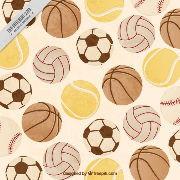 Vintage flat background full sport balls