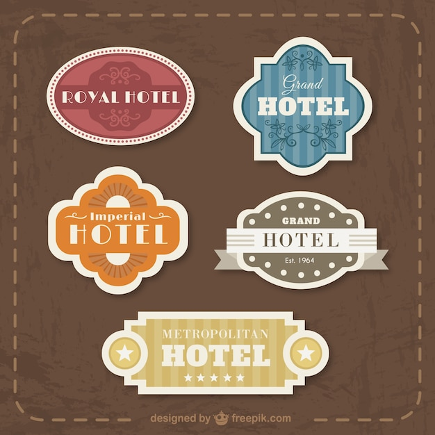 Vintage Flat Hotel Badges Collection