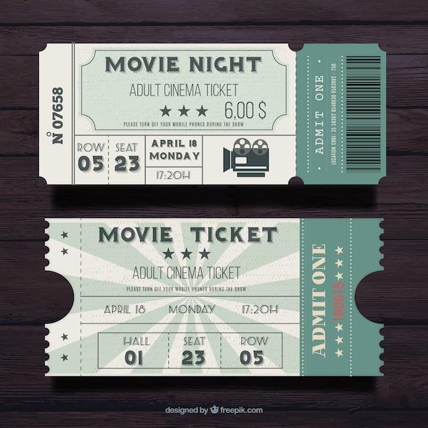 Vintage flat movie pass Free Vector