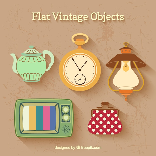 vintage flat objects vector free download. Black Bedroom Furniture Sets. Home Design Ideas