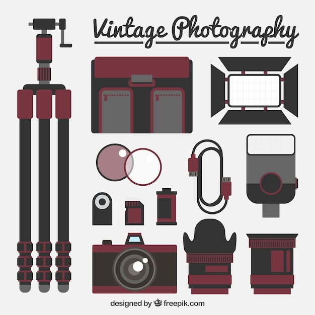 Vintage flat photography equipment