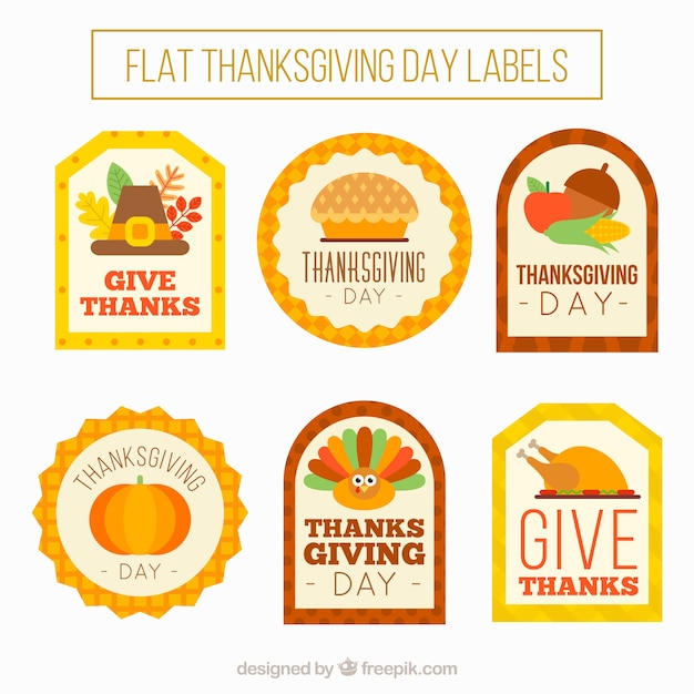 Vintage flat stickers set of thanksgiving Free Vector