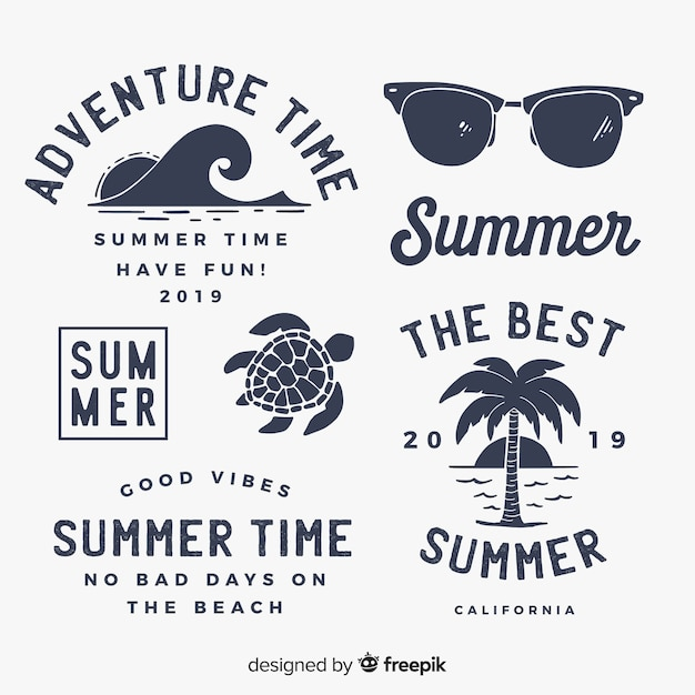 Vintage flat summer label collection Free Vector